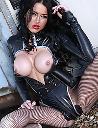 Busty Stacey In Black Leather