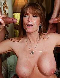 Freckled Redhead Cougar Darla Ganged on