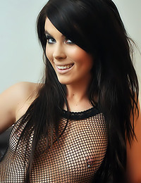 Wild Anna - Raunchy beauty in black mesh outfit with a useful hole in the crotch