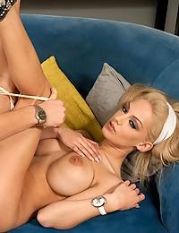 Busty Blonde Cougar Seduces Horny Man