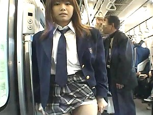 Mayura Hoshizuki lifts her skirt and flashes her pussy on train