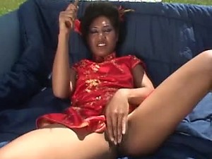 Asian gets DP outdoors and her face full of cum