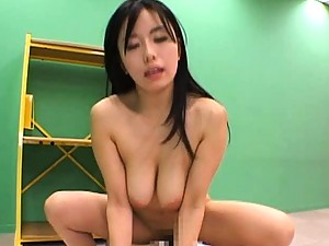 Hina Hanami wraps her lips around one cock as she fucks another