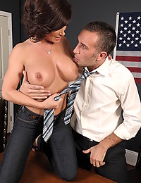 Busty slut office tease