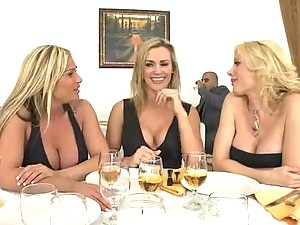 Three Blonde Sluts Having The Waiter's Big Cock For Dinner