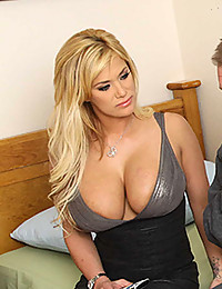 Two sexy blondes threesome with strapon