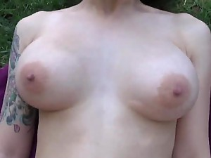 Hot brunette Girl Mika Sparx tight pussy hardcore POV fucking outdoors
