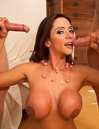 Greedy Ariella Enjoys Two Cocks