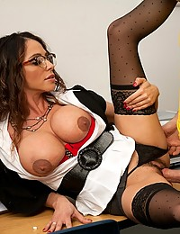 Sexy big tits nurse strips