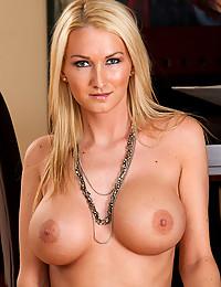 Slutty dress on blonde pornstar