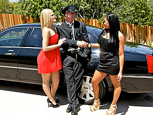 Two busty ladies seduce limo driver