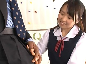 Japanese Girl in School Clothes Sucks Dick And Has A Mouth Full Of Cum