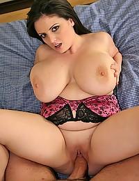 Long cock in curvy brunette