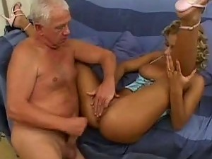 Great Old Man Fucking A Stunning Blonde Beauty
