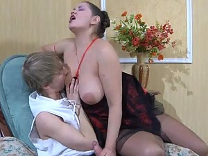 Sucking And Fucking With The Naturally Busty Mature Brunette Emily