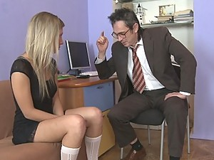 Having sex in the teacher's office is so much fun. That is why Yana never misses lessons of her favorite teacher with big cock.