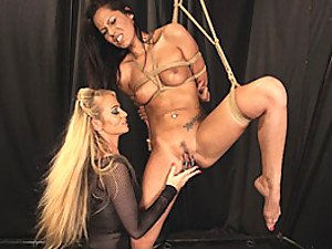 Rope bondage suspension for hottie