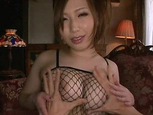 Japanese Model With Big Knockers And Sexy Fishnet Lingerie Getting Fucked