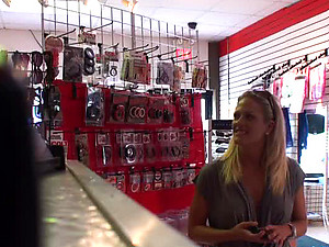 Kinky Blonde Teen Fucks a Guy in a Store's Dresser