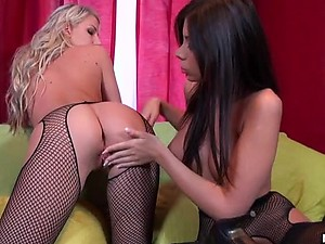 Amateur Lesbians Ashley Brooke and Danielle Maye Go Wild With a Strapon
