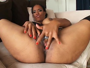 Big Breasted Ebony Titty Fucks a Black Cock