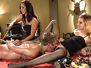 Bound submissive serves two women