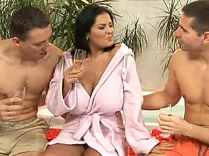 Drunk Brunette With Gorgeous Tits Has A Mind Blowing Threesome