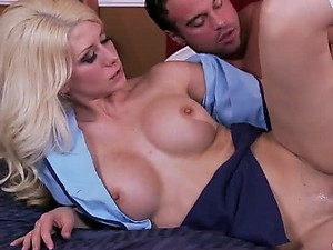Sensual Blonde Jazy Berlin Gives Blowjob and Gets Fucked In a Uniform
