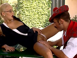Mustached Scottish Man Fucks Blonde Kelly White