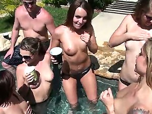 Great Outdoors Group Sex In Pool Party