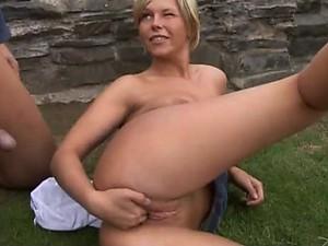 Fucking Michaela Borovska's Pink Pussy Outdoors