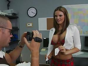 Schoolgirl has monster titties