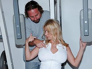 Big tits blonde milf gym sex