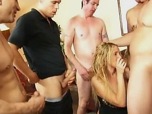 Blonde MILF with Big Natural Knockers in Interracial Gangbang