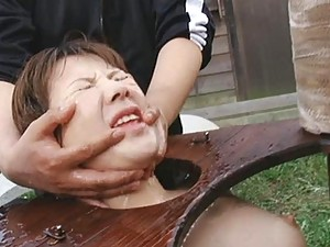 Japanese AV Model in bondage and controlled by horny master