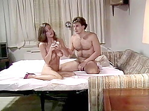 Hot couple of 1980 porn experimenting in bed