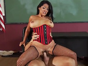 Red Lingerie Wearing Latina Gets Pommeled by A Big Cock