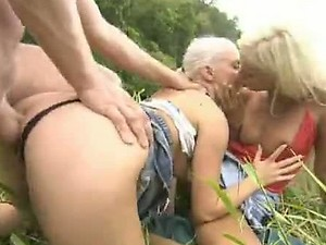 Outdoors FFM Threesome with Blondes Boroka Balls and Nesty