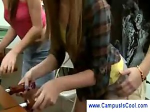 Brunette teen sucks cock at campus