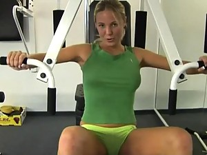 Beautiful Blonde Teen Plays with Dildo in Gym