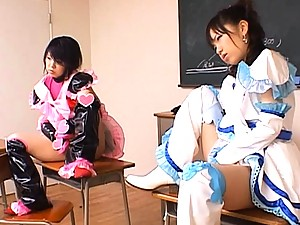 Airi and her friend wait to get fucked by two strong men