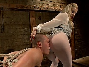 Pantyhose boy slut is humiliated, fucked and teased by hot blonde dominatrix in and with pantyhose!