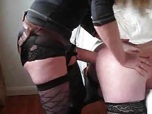 Mistress fucks her sissy in the ass with strapon