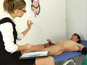 Two medical dominatrixes make a guy dick off