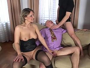 Hot blonde wife loves bisexexual sex