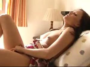Erotic masturbation with beauty in bed